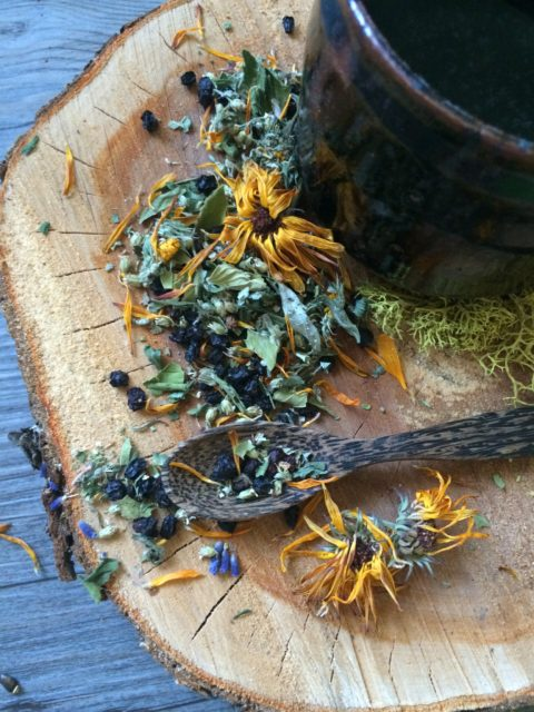 Herb tea, herbal infusion, dried herbs, calendula, elderberry